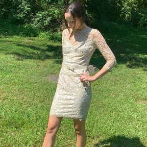 Tadashi Shoji Dresses - Tadashi Shoji Illusion Lace Nude Cocktail Dress